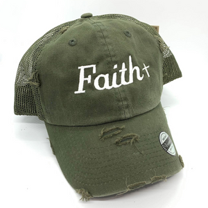 Vintage Mesh Faith Cross Hat