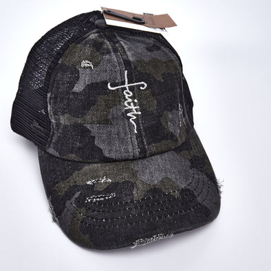 Faith Cross Criss Cross Ponytail Hat