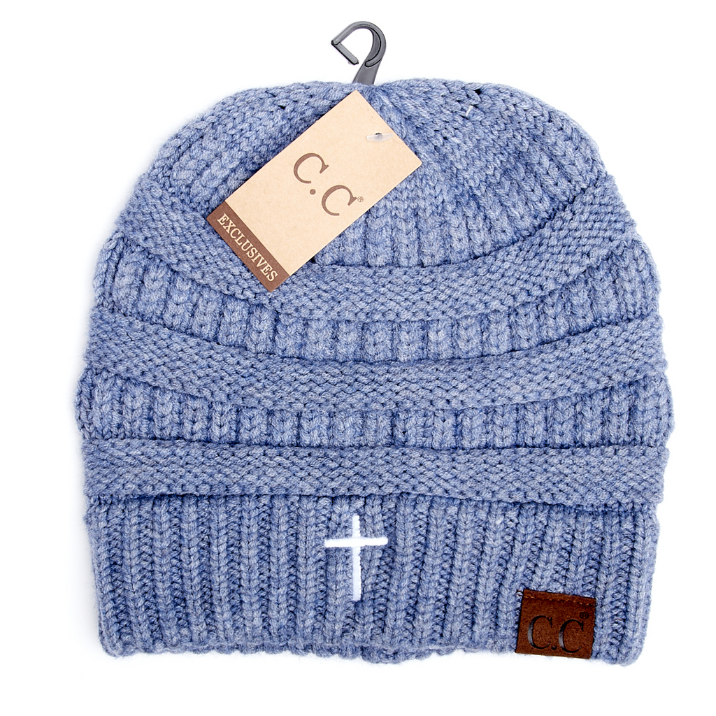 Mixed Soft Yarn Cross Beanie