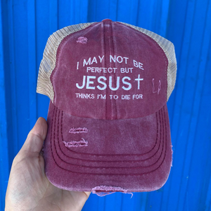Jesus Thinks I'm To Die For Denim Criss Cross High Pony Ball Cap
