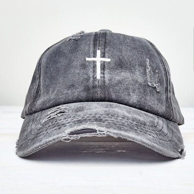 Cross Distressed Ladder High Ponytail Hat