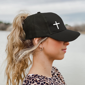 Cross Mesh Back Ponytail Hat