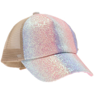 Glitter Ombre Criss-Cross High Ponytail CC Cap