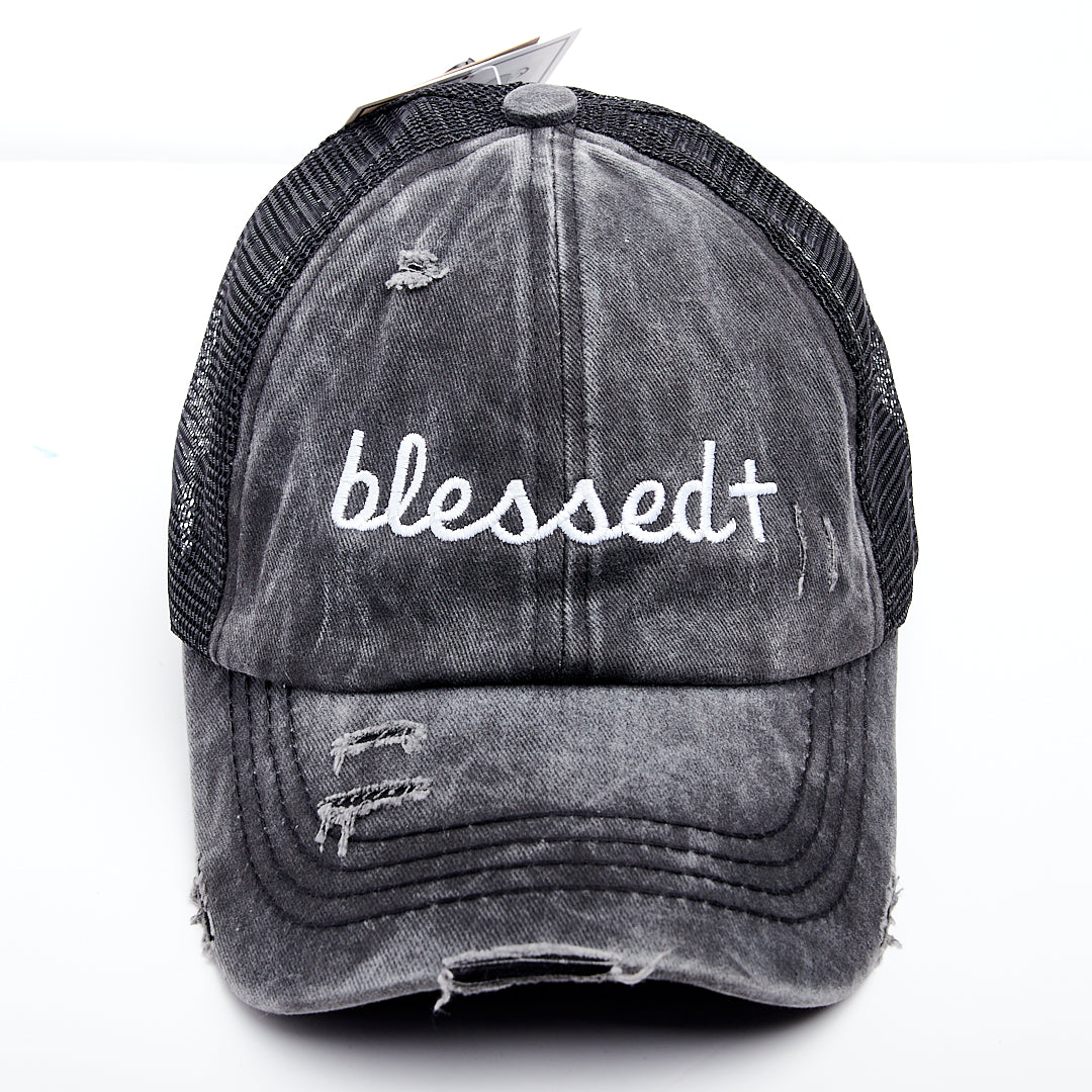 Blessed Cross Criss Cross Ponytail Hat