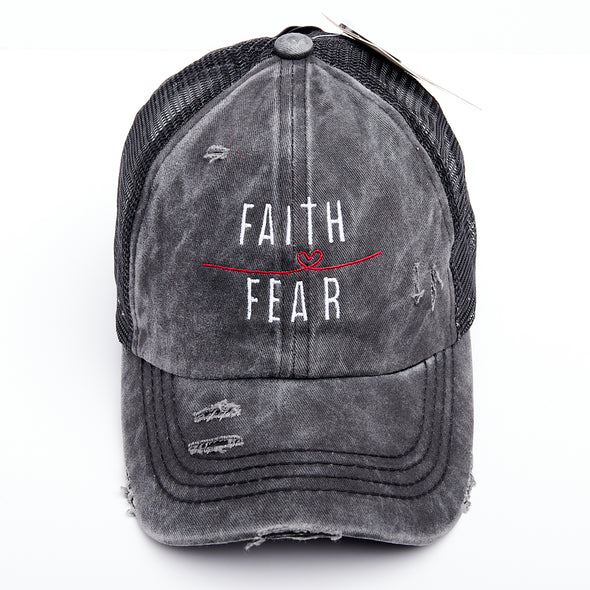 Faith Over Fear Thin Red Line Heart Criss Cross Ponytail Hat