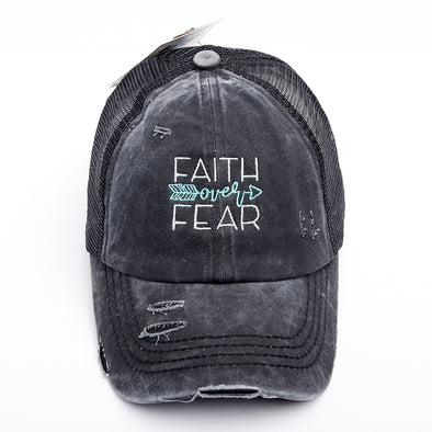 Faith Over Fear Criss Cross Ponytail Hat