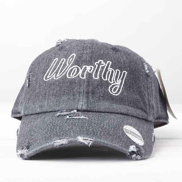 Worthy Distressed Baseball Hat Adjustable Metal Closure-Denim