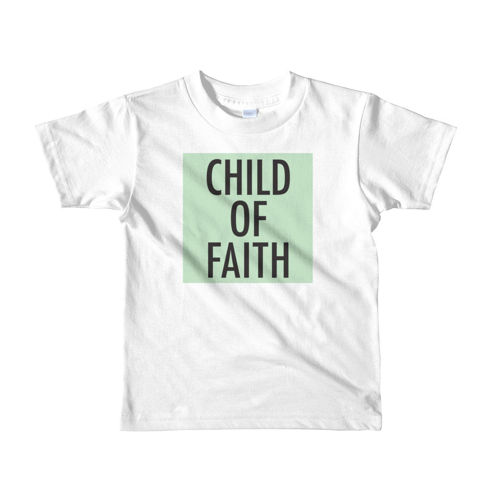 Child of Faith in mint toddler t-shirt
