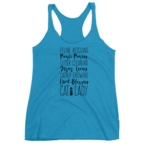 Jesus loving Cat Lady Women's Racerback Tank