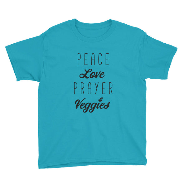 Peace Love Prayer Veggies Youth Short Sleeve T-Shirt