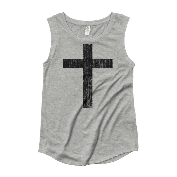 Distressed Cross Ladies' Cap Sleeve