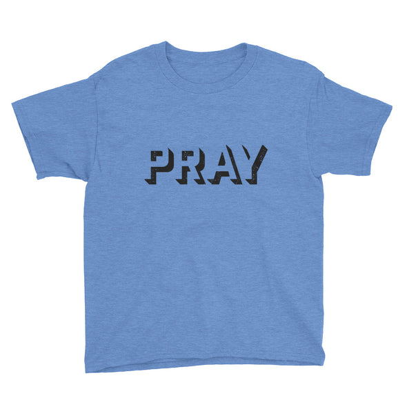 PRAY outline grunge Youth Short Sleeve T-Shirt