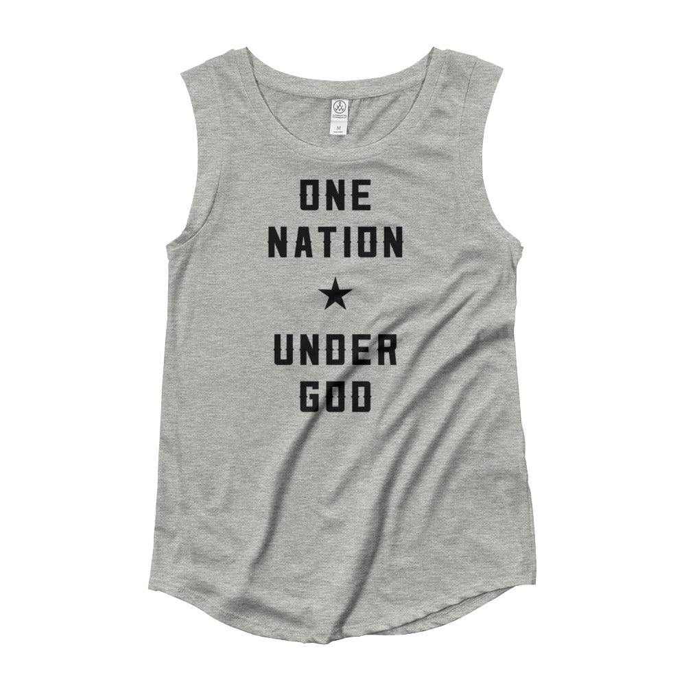 One Nation Under God Ladies' Cap Sleeve T-Shirt
