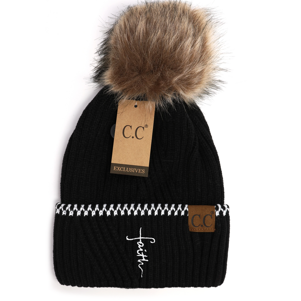 Faith Cross Ribbed Knit Beanie With Accented Cuff