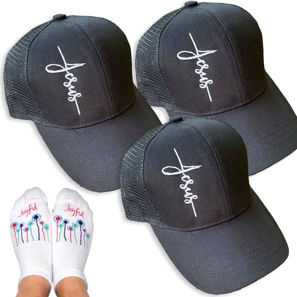 Ponytail Jesus Cross Hat Bundle