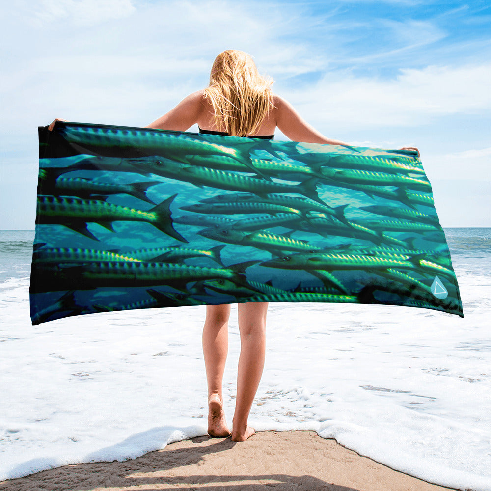 School of Barracuda fish towel