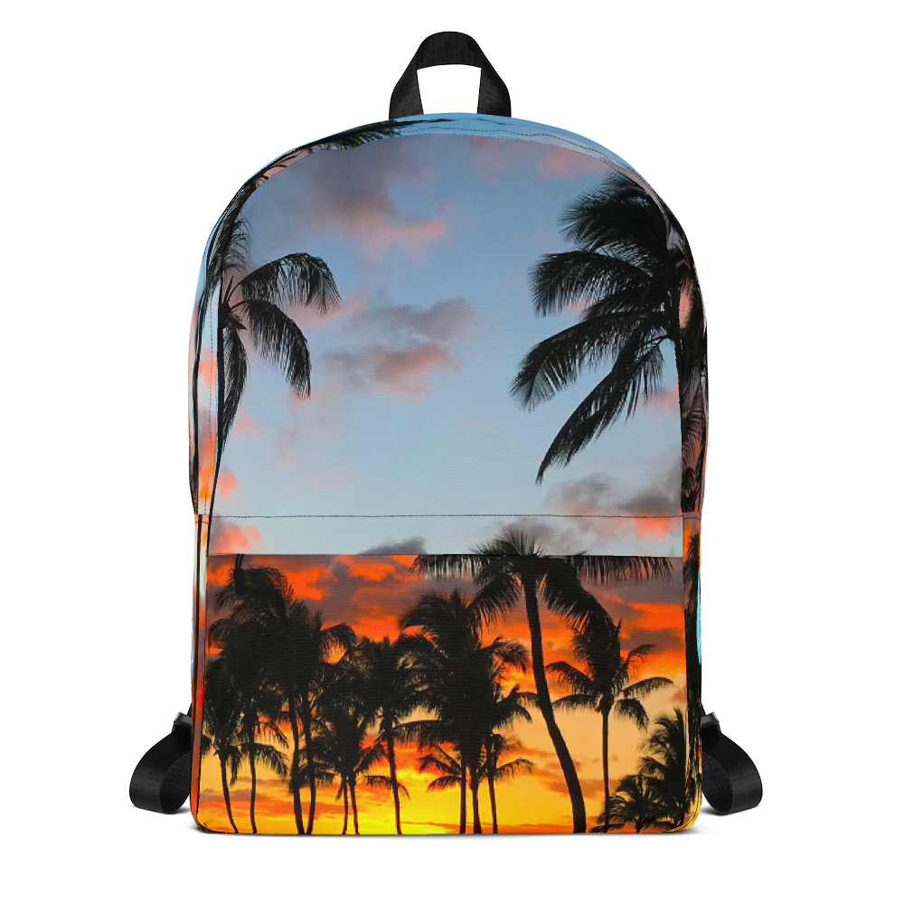 Hawaii Palm Tree Sunset Photo Backpack