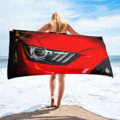 Red Ford Mustang Headlights Towel