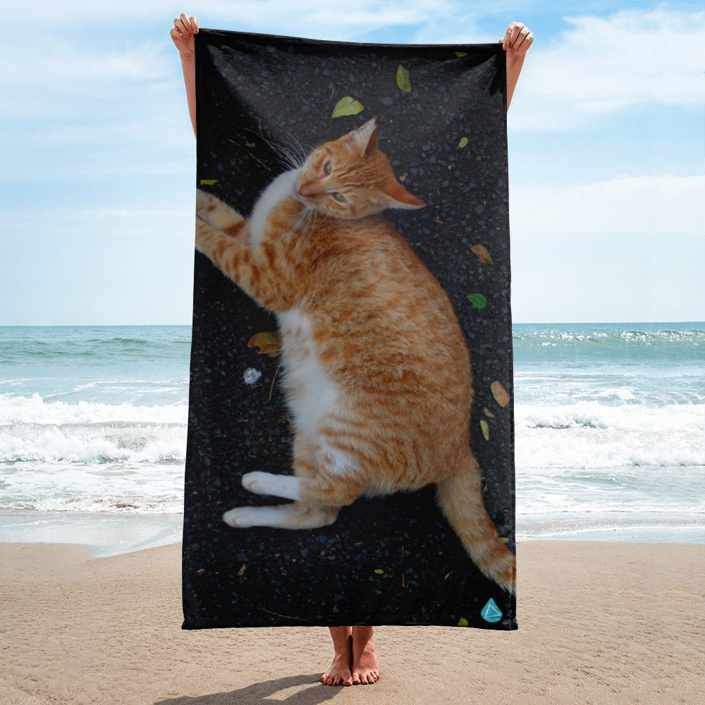Mellow Yellow Tabby Cat Towel