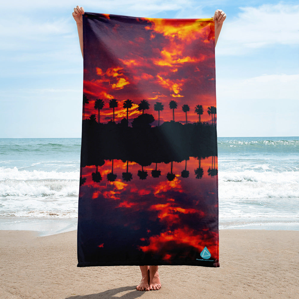 Sunset Palm Reflection Towel