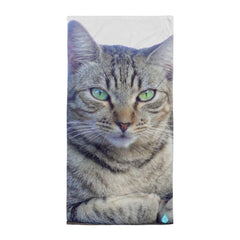 Grey Black Tabby Cat Beach Towel