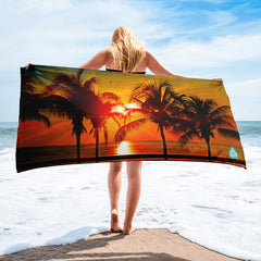 Palm Tree Sunset PhotoBeachTowel