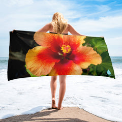 Hibiscus Orange Flower Towel