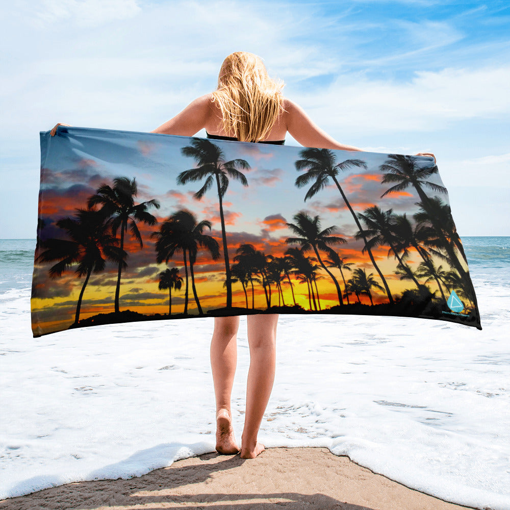 Hawaii Palm Tree Sunset Towel