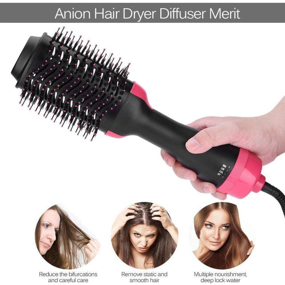 Multi-functional Styling Straightening Curling Dryer & Volumizer Rotating Hair Brush - Gem Owl
