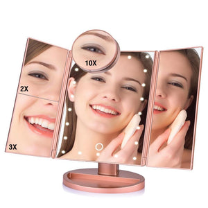 Touch Screen Folded Desktop Magnifying Mirrors with 22 LED Lights - Gem Owl