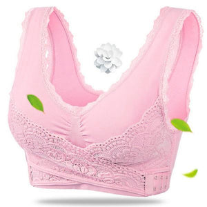 Front Cross Side-Buckle Lace Wireless Lift Bra - Gem Owl