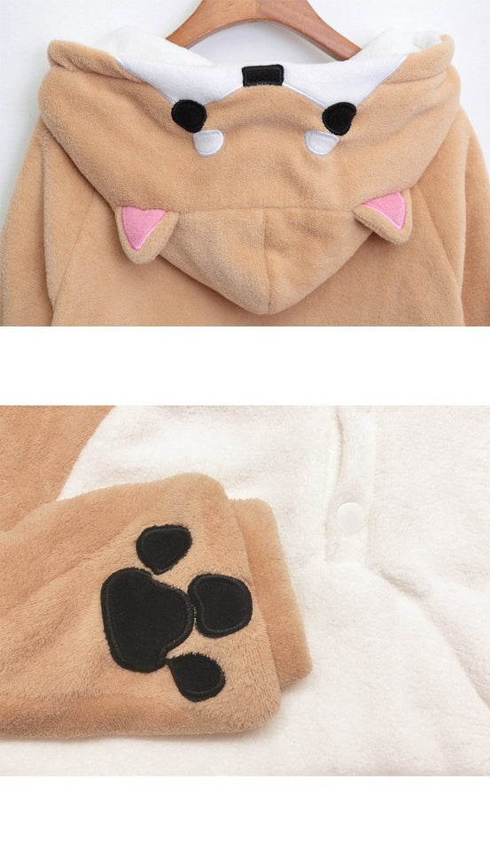 Shiba Inu Hooded Plush Sweater/Jacket - Gem Owl