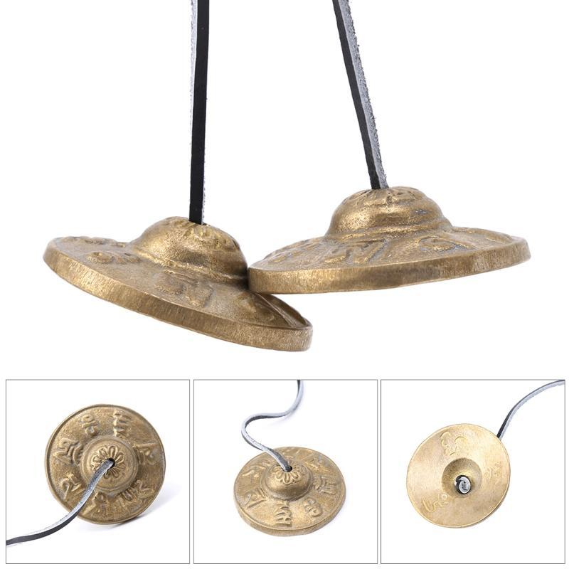 Handcrafted Tibetan Meditation Tingsha Cymbal Bell with Buddhist Lucky Symbols - Gem Owl