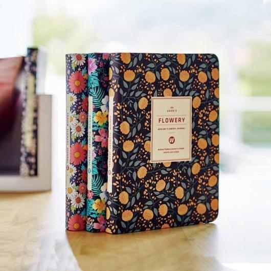 New Arrival Cute PU Leather Floral Flower Schedule Planner Notebook - Gem Owl