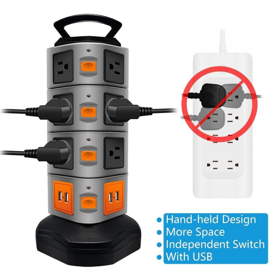 USB Power Strip Protector Electric Charge Station Plugs Socket 4 USB Slot Extension Cord - Gem Owl