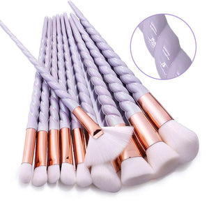 10 Pcs Purple Spiral Unicorn Brush Set - Gem Owl
