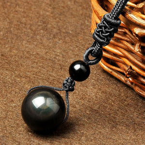 Natural Obsidian Black Rainbow Eye Necklace - Gem Owl