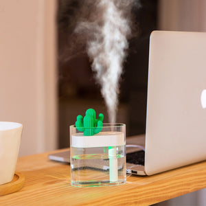 Clear Cactus USB Ultrasonic Air Humidifier Aroma Essential Oil Diffuser - Gem Owl