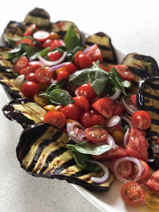 Roasted eggplant, tomato and basil salad-Fresh Connection