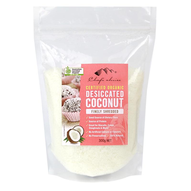 Chef's Choice Certified Organic Desiccated Coconut - Finely Shredded 300g-Groceries-Chef's Choice-Fresh Connection