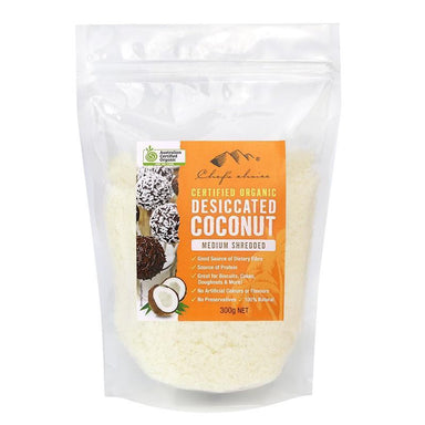 Chef's Choice Certified Organic Disiccated Coconut - Medium Shredded 300g-Chef's Choice-Fresh Connection