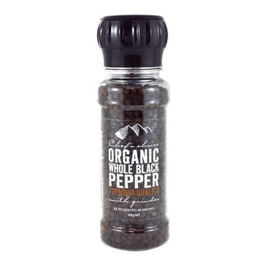 Chef's Choice Organic Whole Black Pepper with Grinder 100g-Chef's Choice-Fresh Connection
