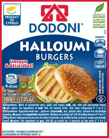 Dodoni Greek Haloumi Cheese Burgers (4 slices)200g-Groceries-Dodoni-Fresh Connection