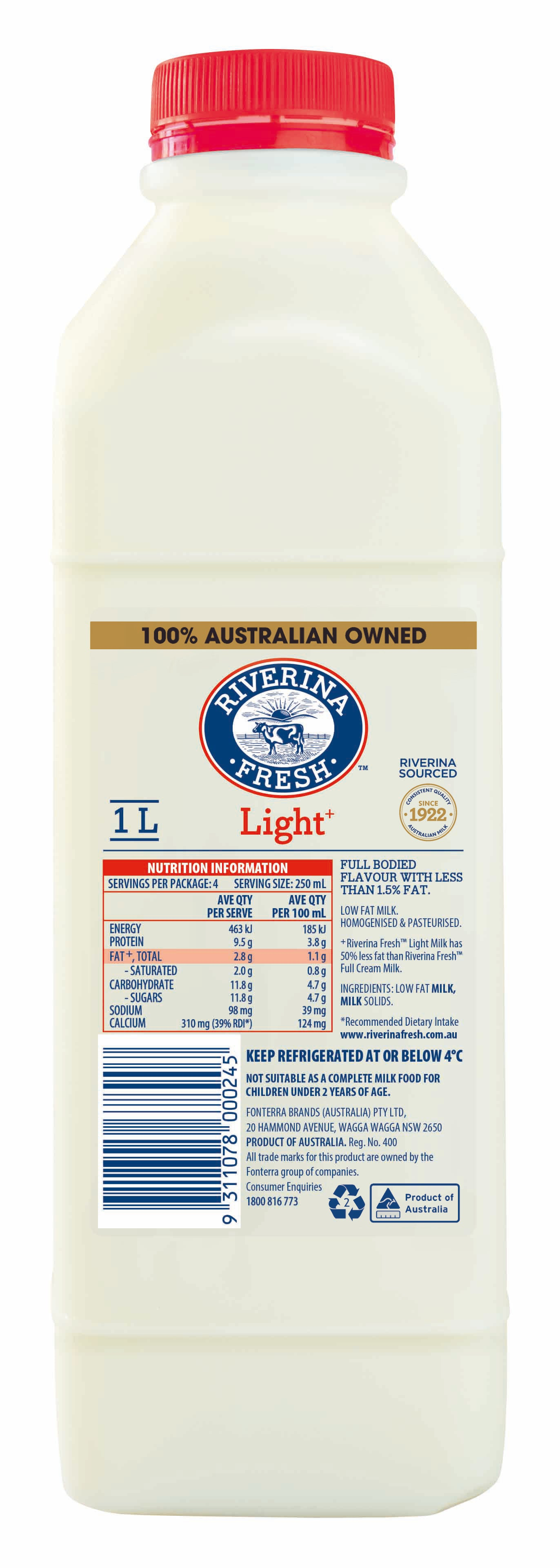 Riverina Light Milk 1L