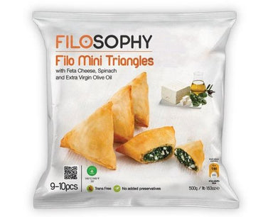 Ioniki FiloSophy Frozen Mini Filo Spinach & Feta Triangles QTY 9-10 - 500g-Groceries-Ioniki FiloSophy-Fresh Connection