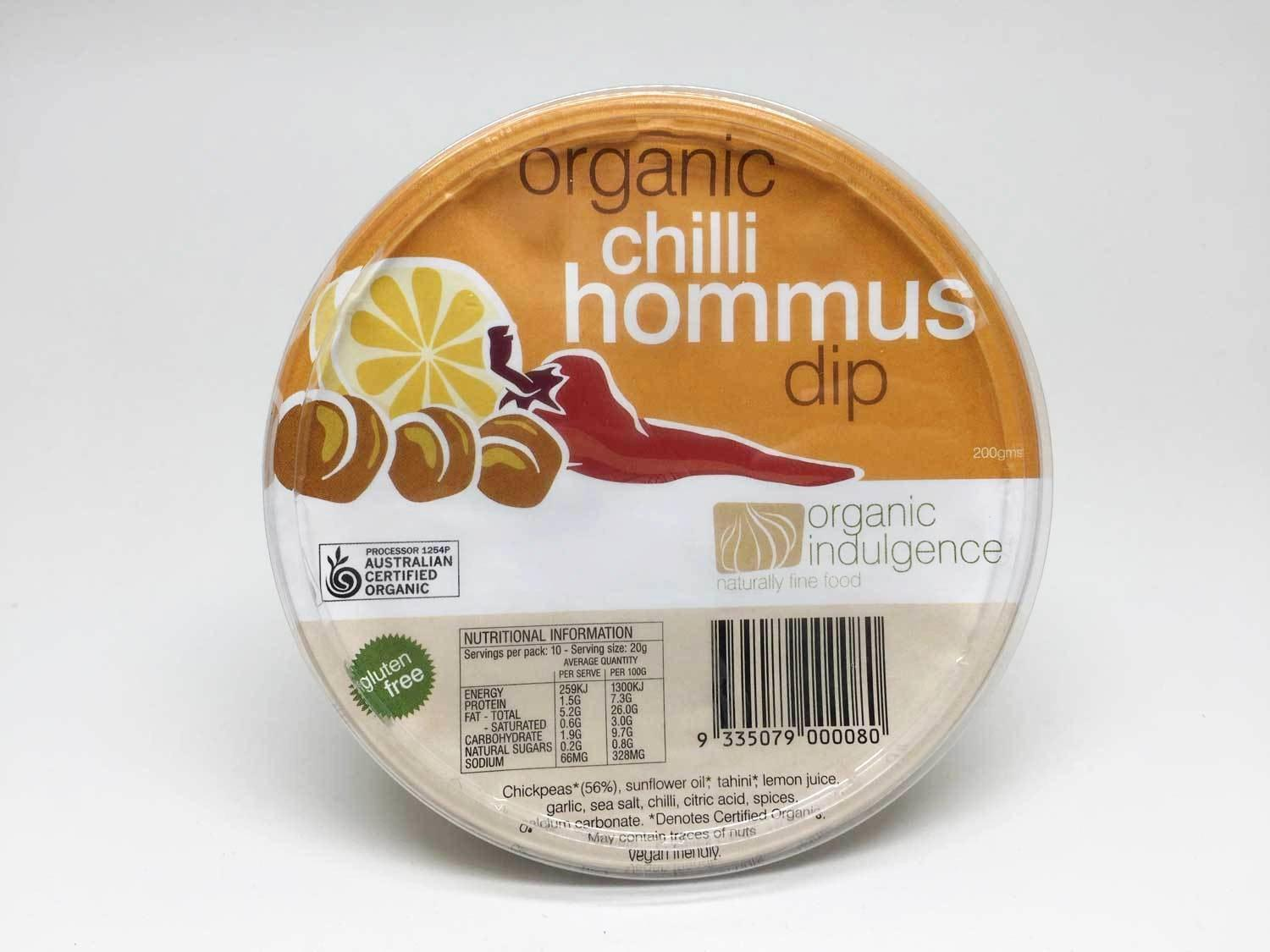 Organic Indulgence Chilli Hommus Dip 200g-Organic Indulgence-Fresh Connection