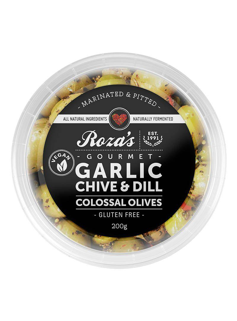 ROZA'S Garlic Chive & Dill Colossal Olives 200g-Groceries-Roza's-Fresh Connection