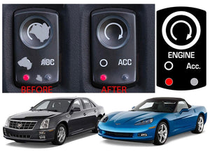 Replacement Ignition Start Button Decal Kit For 2005-2013 Corvette