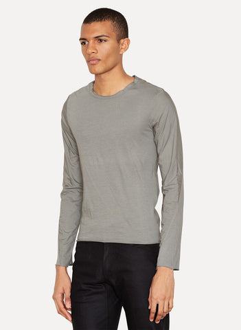 Grey Jersey Poplin Layered Long Sleeve