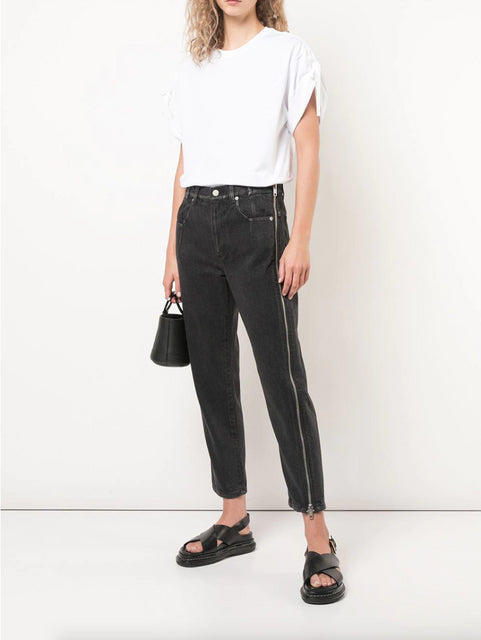 Cropped Side Zip Detail Jeans Black